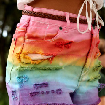 Ariel-hand dyed rainbow high waisted shorts