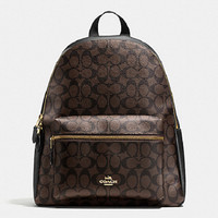 New Authentic Coach F58314 Charlie Signature PVC Backpack Double Shoulder Bag Brown Black