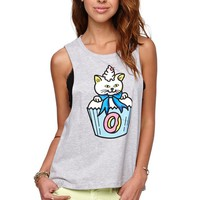 ODD FUTURE Cupcat Muscle T-Shirt - Womens Tee - Grey