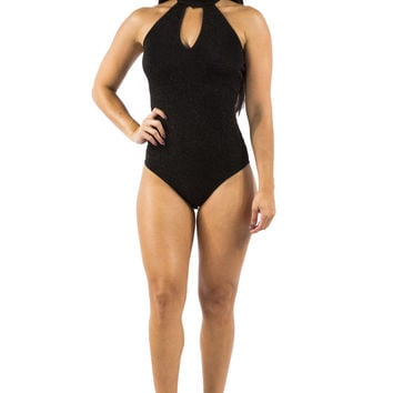 Black Shimmer Body Suit with Choker Detail