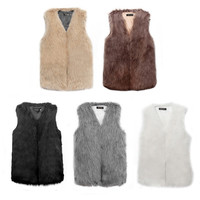 Women's Faux Fur Sleeveless Vest Coat V-Collar Long Waistcoat Jacket Outwear = 1932934084