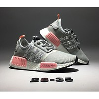 Adidas NMD Popular Women Leisure Shiny Running Sports Shoes Sneakers Grey Pink I-CQ-YDX