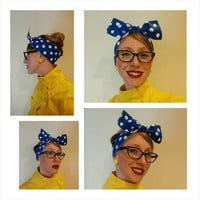 "Women's 1940's style vintage inspired head wrap head scarf rockabilly bandana blue and white polka dot Hair Bow ""Rosie the Riveter"""