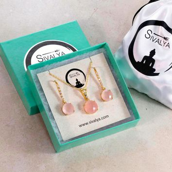 Cushion Cut Rose Quartz Necklace and Earrings Jewelry Set in Gold Vermeil