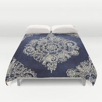 Cream Floral Moroccan Pattern on Deep Indigo Ink Duvet Cover by Micklyn