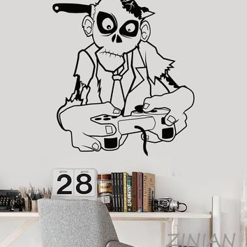 Zombie Playing Game Wall Art Stickers muraux Game Zone Gamer Teen Room Decor Video Games Joystick Wall Decal Wallpaper Z566