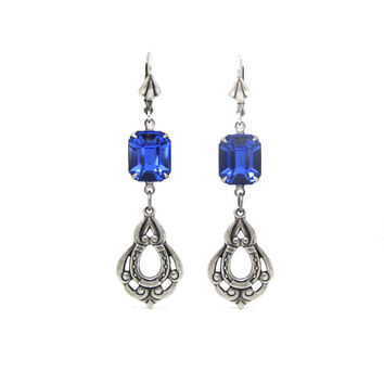 Bridal Earrings - Art Deco - Sapphire Blue Glass - Silver Plated Horseshoe - Equestrian Wedding
