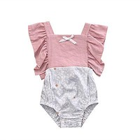 Baby Girl Sleeveless Patchwork Cute New Jumpsuit Clothing 0-2T Infant Baby Girls Clothes Floral Tops Ruffled Bodysuit