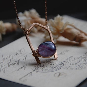 inga • rainbow fluorite necklace - crystal bronze pendant - fluorite crystal necklace - witch jewelry - made in finland - witchy necklace