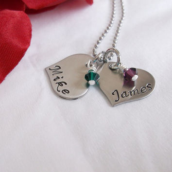 Mother's Personalized Necklace - two hearts - two colored glass beads