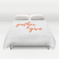 Thanksgiving Decor, Duvet Cover, Gather & Give, White and Orange, Fall Home Decor, Autumn Decorations, Customized Colors, Guest Room Ideas