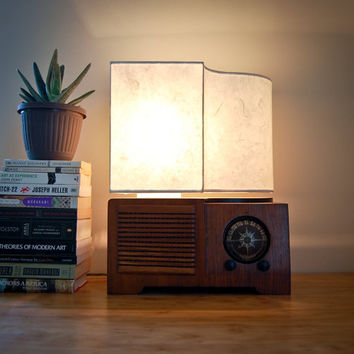 Vintage Radio Table Lamp, with handmade paper lampshade