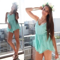 MINT POM POM WRAP CROSSOVER LOW BACK SWING SLOUCH PLAYSUIT JUMPSUIT 6 8 10 12
