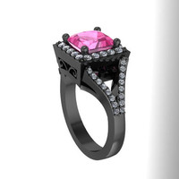Pink Sapphire Engagement Ring Princess Cut Diamond Engagement Ring 14K Black Gold with 6.5x6.5mm Pink Sapphire Center - V1087