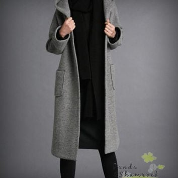 warm winter/coat/ wool/ long/ loose/ plus/hoodie