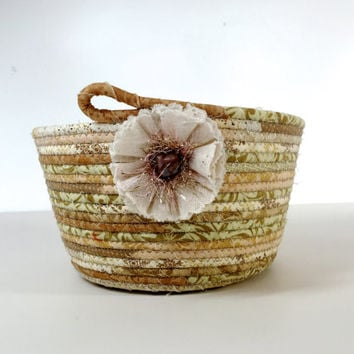Coiled Rope Easter Basket in Muted Neutrals  Baby Room Organizer  Natural Room Decor  Fiber Art Bowl