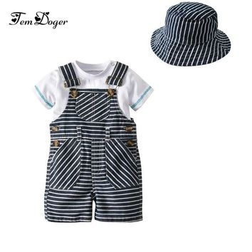 Xirubaby Baby Boy Clothing Set Newborn Boy Clothes Short Sleeve Top+Overall+Hat 3PCS Bebes Gentleman Outfits Set Infant Clothing