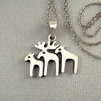 """Vintage STERLING Silver MODERNIST Pendant Reindeer Necklace 19.5"""" CHAIN, Christmas Gift for Her"""