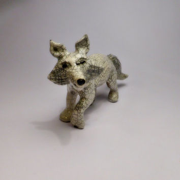 White Artic fox with crackle glaze (READY TO SHIP)