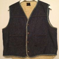Vintage 60s ROEBUCKS Denim Sheep Fur Lined VEst with Snap Buttons Size Large