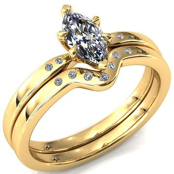 Maise Marquise Moissanite 6 Prong Diamond Accent Engagement Ring
