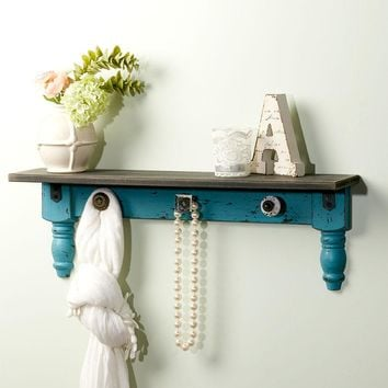 Vintage Wall Shelves with Hooks