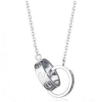 BeadyBoutique Love Necklace - White Gold