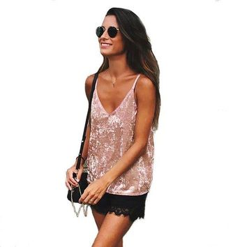 LMFOK5 Summer Sexy Women Crop Tops Sleeveless Deep Chiffon Camis Clothes Tops Off Shoulder Womens gallus Tank Tops