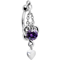Handcrafted Purple Gem Searching for Love Top Mount Belly Ring | Body Candy Body Jewelry