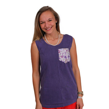 Sigma Sigma Sigma Tank Top in Grape with Pattern Pocket by the Frat Collection