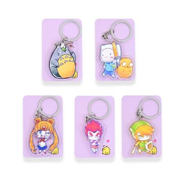 Totoro Sailor Moon Key Chians Chibi Adventure Time Cartoon Keyrings  Double Sided  Cute Anime Acrylic Keychain Accessories PCB01