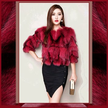 Vintage Garnet Red Fox Fur Fashion Waist Coat