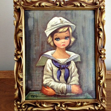 Vintage Big Eyed Art Eden Sailor Girl Print Syrocco Frame