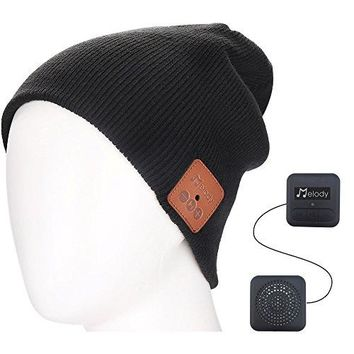Bluetooth Beanie Music Hat ,Coeuspow 4.1 Wireless Smart Beanie Headset Music Cap with HD Stereo Speaker ,Built-in Mic , 100% soft acrylic,Hand Free for Running Skiing Skating - Black