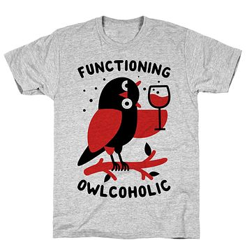 Functioning Owlcoholic Athletic Gray Unisex Cotton Tee by LookHUMAN