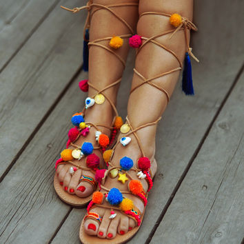"Gladiator Bohemian Pom Pom Sandals "" Utopia ""  Lace up Sandals /  Summer Ethnic Sandals/Handmade Decorated Greek Leather Sandals"