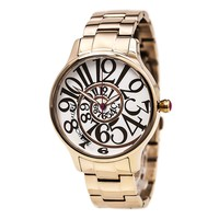 Betsey Johnson BJ00040-14 Women's White & Rose Optical Dial Rose Gold Steel Bracelet Watch