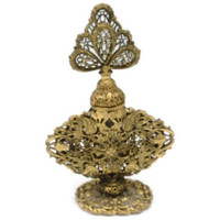 Hollywood Regancy Style Rococo Ormolu Floral Rose Filigree Perfume Bottle