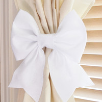 Two White Bow Curtain Tie Backs. Decorative Tiebacks Curtain Holdback -Drapery Tieback- Baby Nursery Decor. Cottage Chic.