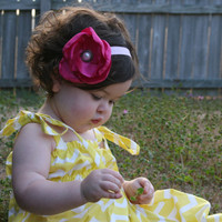 Pink Satin Flower Headband for Girls/ Infant Toddler Handmade Flower Headband