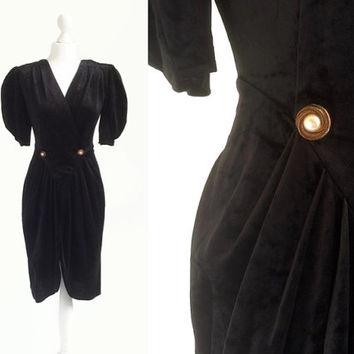 Black Velvet Dress - 1980's Vintage Dress - 80's Dynasty Dress - Little Black Dress LBD - Union Workers Label