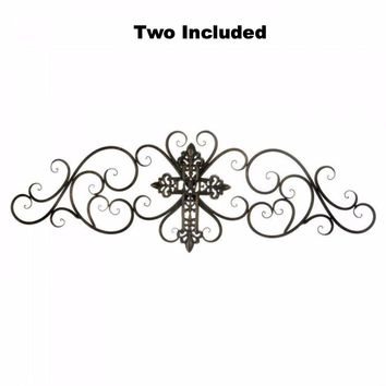 Set of 2 Cross Art Wall Plaques