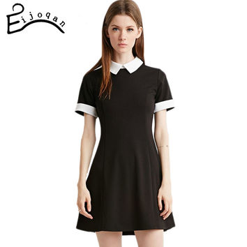 Black Dress White Collar Summer Cute Peter Pan Collar School Preppy Style Dresses Zipper Short  Brand Vestidos Femininos
