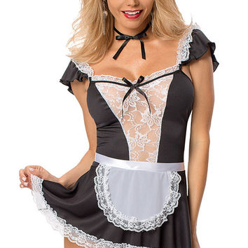Black Butterfly Sleeve Cut-Out Floral Lace Mini Dress Maid Costume