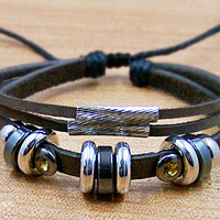 mens bracelets cuff wristband for men women Surfer Cuff Leather Rope Bracelet metal Beads Metal pipe L105
