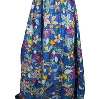 Mogul Interior Ladies Floral Bue Flower Printed Pleated A-Line Ggypsyvogue Elasticated Waist Maxi Skirts (Blue)