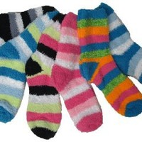 Soft & Fuzzy Slipper Socks, Striped 6 Pairs, Size: 9-11