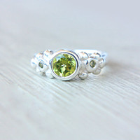 Peridot Engagement Ring Peridot Ring Three Stone Ring Sterling Silver Promise Ring August Birthstone Size 4,5