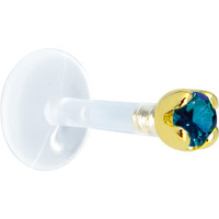 Solid 14KT Yellow Gold 1.5mm Genuine Blue Diamond Bioplast Push in Labret | Body Candy Body Jewelry