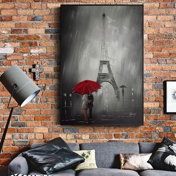 Paris Tower Paintings On The wall Paris Street View Landscape Wall Art Canvas Prints Paris Cuadros Pictures for Living Room Wall
